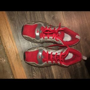 Adidas 6.5 red silver running shoes excellent
